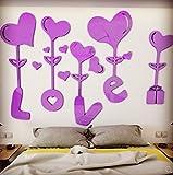 SD&EY 3D-Wandaufkleber Love Heart DIY Abnehmbare Vinyl-Decal Art Mural Zu Hause Dekor 78 Zoll,B