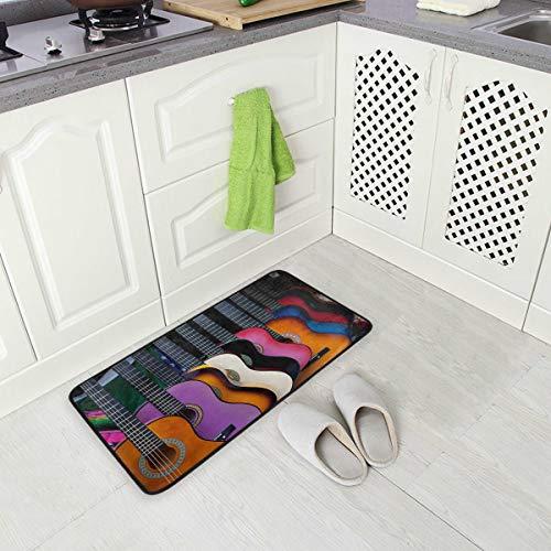 Mnsruu Mehrfarbige mexikanische Gitarre, rutschfeste Küchenmatte für Diele, Flur, Badezimmer, Wohnzimmer, Schlafzimmer, 50 x 100 cm
