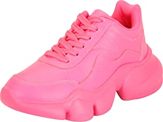 Cambridge Select Women's Retro 90s Ugly Dad Mono Lace-Up Chunky Platform Fashion Sneaker