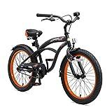 BIKESTAR, Bicicletta per Bambini con cavalletto e Accessori per Bambini di 6 Anni, Edizione Cruiser, Colore Nero Opaco