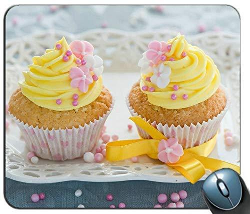 Gelbe Blumen Dekoration Creme Kuchen Mauspad Anti-Rutsch-Desktop-Mauspad Gaming-Mauspad