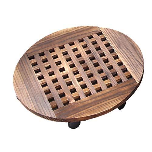 Cratone Pflanzenroller Holz Rund 30 cm Buche massiv Rolluntersetzer pflanzenroller eckig Untersetzer mit Rollen/Transporthilfe für Pflanzen -Tragkraft 120 kg
