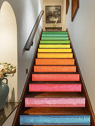 FLFK 3D Kunst Bunter Regenbogen Ölgemälde Selbstklebend treppenaufkleber Wandmalerei Vinyl Treppe Steigleitung Abziehbilder 39.3Zoll x7.08Zoll x 13stücke