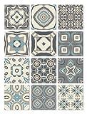 Panorama Azulejos Adhesivos Cocina Baño Pack de 48 Baldosas de 15x15cm Modelo Hidráulico Azul - Vinilos Cocina Azulejos - Revestimiento de Paredes - Cenefas Azulejos Adhesivas