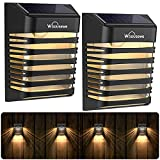 Solar Fence Lights, Whousewe Solar Wall Lights Decoration Outdoor Waterproof with 2 Modes for Patio, Fence, Yard, Garden, Garage, Stairway, Gate, Warm Light(6 Pack)