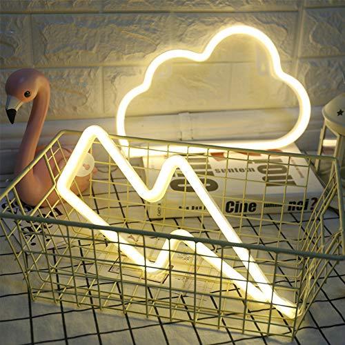 ENUOLI luce al neon del segno Nube del segno al neon e fulmini segno al neon Combinazione bianco caldo Hanging Neon Illuminazione di umore della batteria/USB Operated Neon Night Light Luce di Natal