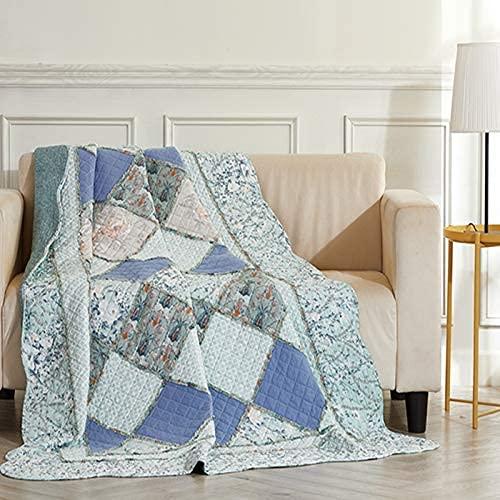 IJNBHU Manta Acolchada de Retazos, Colcha de Retazos, Colcha de Cama para Dormitorio, sofá, sofá, edredón de algodón para Cama Doble/Doble/tamaño Queen 150x200cm (Talla única, Azul)