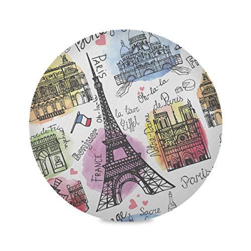 Lot de 4 Tapis de Travail Ronds Paris Landmark Tour Eiffel Arc De Triomphe Fun Place Mats Tapis de Travail 15,4 Pouces faciles à Nettoyer pour la Cuisine Table à Manger Fête des fêtes
