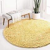 Unique Loom Davos Shag Contemporary Soft Cozy Area Rug, 4' Round, Sunglow
