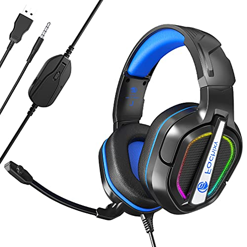 Fachixy FC-200 3.5mm Stereo Gaming Headset for PlayStation 4, Xbox One X/S,PlayStation 5,Noise Cancelling Over Ear Headphones with RGB Light & Mic,50MM Driver(blue)