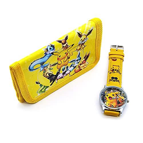 Bireegoo Pokémon Digitale Horloge en Portemonnee Kinderspeelgoed Horloges Set Pokemon Pikachu Potlood Case Stationaire…