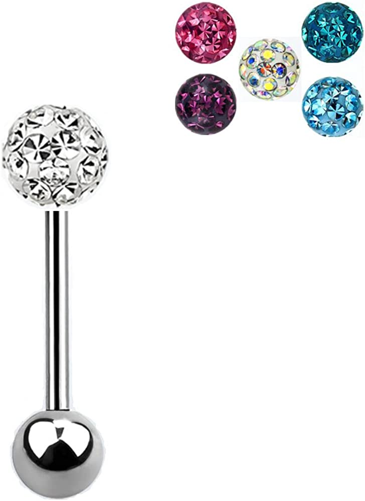 Assorted Crystal Ferido Ball Surgical Steel R Over Sale item item handling ☆ Bar Barbell Tongue