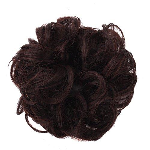 MapofBeauty 15cm/6 Pouce Caoutchouc Bande Cheveux Circle Bouclé perruque (Sombre Brun)