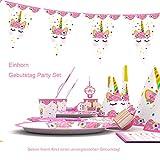 Himeland 90-teilig Einhorn Party-Set Pink Mädchen Einhorn Geburtstag Geschirr Kit für Geburtstagsfeier Kindergeburtstag Baby Shower Party Partygeschirr Teller Becher Strohhalme Tischdecke - 7