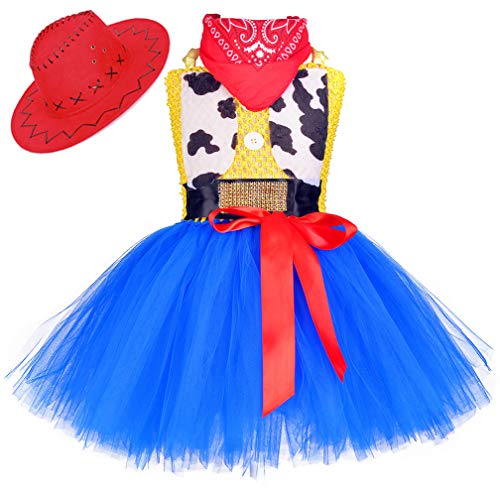 Tutu Dreams Cowboy Cowgirl Costume Dress for Toddler Girls Western Cowboy Role Play Clothes Carnival Birthday Party (Cowgirl, 3-4T)