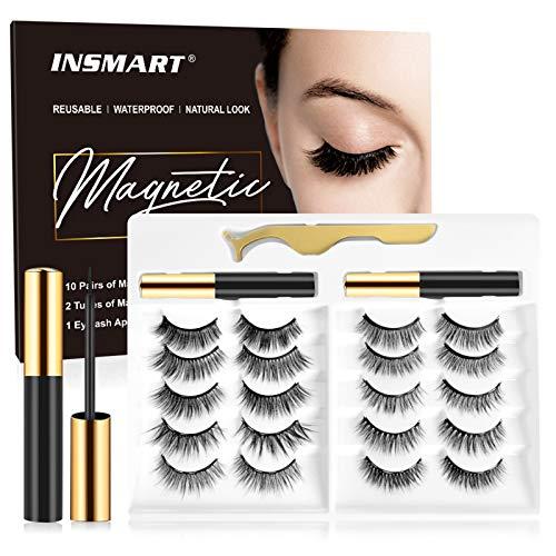 Magnetic Eyelashes with Magnetic Eyeliner Kit -10 Pairs Upgraded 3D 5D Magnetic Eyelashes Kit with Tweezers & 2 Tubes of Magnetic Eyeliner, Reusable, No Glue
