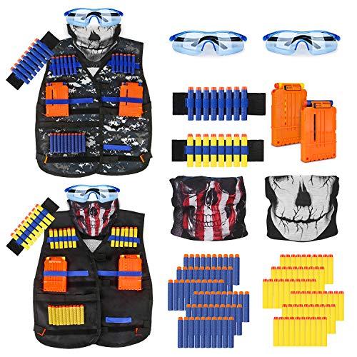 Taktische Weste für Kinder, für Nerfpistolen, mit Nachfüll-Dart-Tasche, Nachlad-Clips, taktische Maske, Armband und Schutzbrille, Nerf Weste Spielzeug für 4, 5, 6, 7, 8, 9, 10, 11, 12 Jahre Jungen (2er-Pack)
