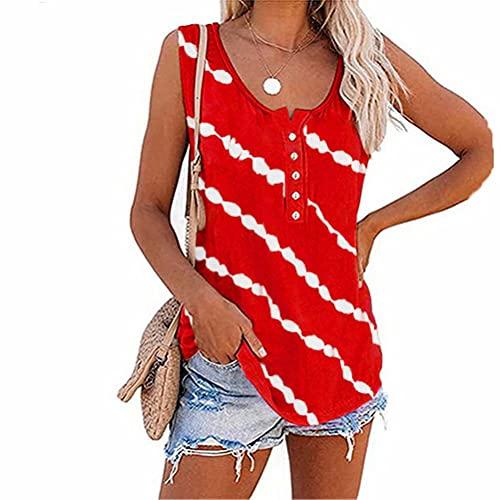 ZFQQ Camiseta sin Mangas Estampada Multicolor de Verano para Mujer