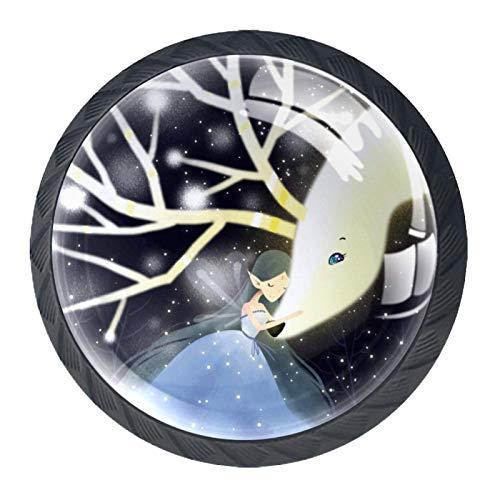 Las manijas del cajón tiran el vidrio de cristal redondo para el hogar, la cocina, el tocador, el armario, el ciervo blanco