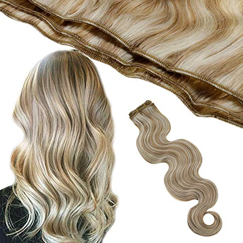 Runature Body Wave Weave Bundle 16 Inch Color 12P60 Light Golden Brown Mix Platinum Blonde Double Weft Hair Human Extensions 100g Sew in Extensions