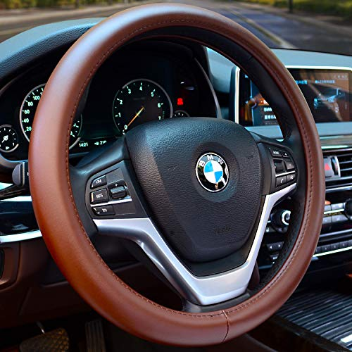 Valleycomfy Universal 15 inch Auto Car Steering Wheel Cover with Black Genuine Leather for Car Truck SUV 15.5-18 inch (Coffee)