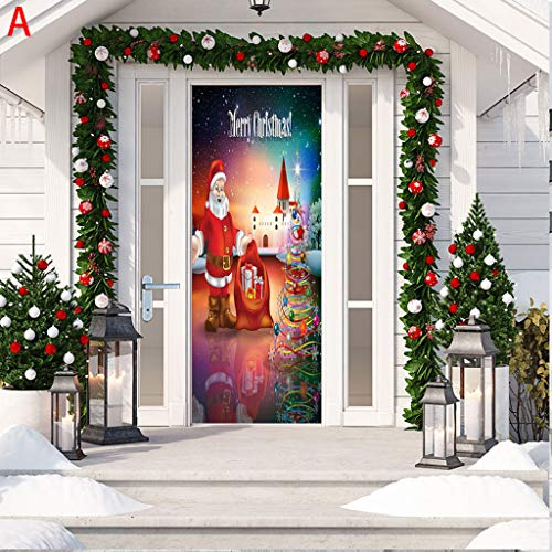 Fasclot Christmas Decoration Door Stickers 3D Simulation Removable Waterproof Wall Stickers Home & Garden Wall