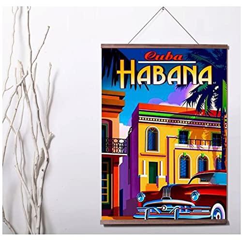 Pknbfw Cuba La Habana Vintage Travel Increíble arte lienzo póster decoración pintura arte de la pared impresiones en lienzo habitación decoración del hogar-50x70cm sin marco