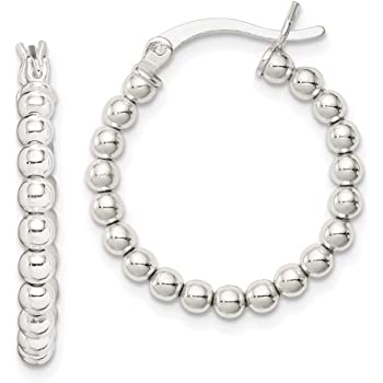 Great Gift Excellent Quality 925 STERLING SILVER Beaded Hoop Earrings