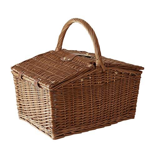 szy Picknickkorb Picknickkörbe Picknick Set Luxus Wicker Picknickkorb Picknickkorb Mit Deckel Und Griffe Picknickkorb for 4 Geeignet for Picknicks Und Camping (Color : Brown, Size : 40 * 30 * 36cm)