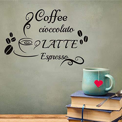 JXMK Muurtattoos koffie latte espresso sticker vinyl sticker mok bonen wooncultuur keuken café restaurant afneembare muurschildering | Muursticker 84cm x 58cm