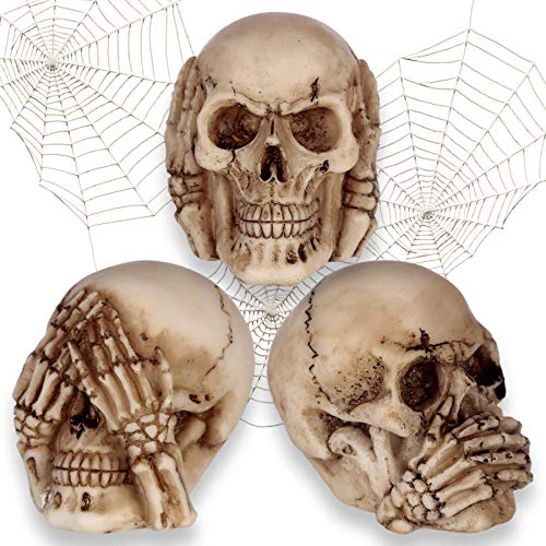 mtb more energy Deko Totenkopf Figuren \'\'Nichts Hören, Nichts sehen, Nichts Sagen\'\' - Set aus 3 Totenschädeln - Höhe 5.5 cm - Dekoration Wohnen Tischdeko
