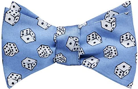 OCIA Mens Designer Self Bow Tie Pattern Woven Bowtie Dice Light Blue product image