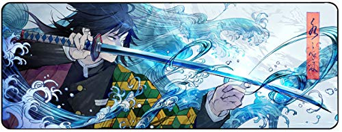 """Demon Slay Kimetsu No Yaiba Anime Large Extended Gaming Mouse Pad Mat, Stitched Edges, Ultra Thick 3 mm, Wide & Long Mousepad 31.5"""" x 11.8"""" x 0.12"""" (06)"""