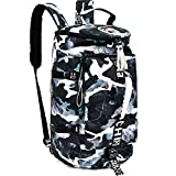 40L Laptop Backpack with Waterproof Gym Duffle Bag for Men Women Teen, Durable Travel Bags with Shoulder Strap for Sport Hiking School - Glacier White