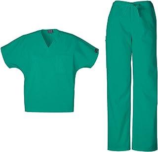 Cherokee Workwear Unisex V-Neck Top 4777 & Drawstring Pant 4100 Scrub Set