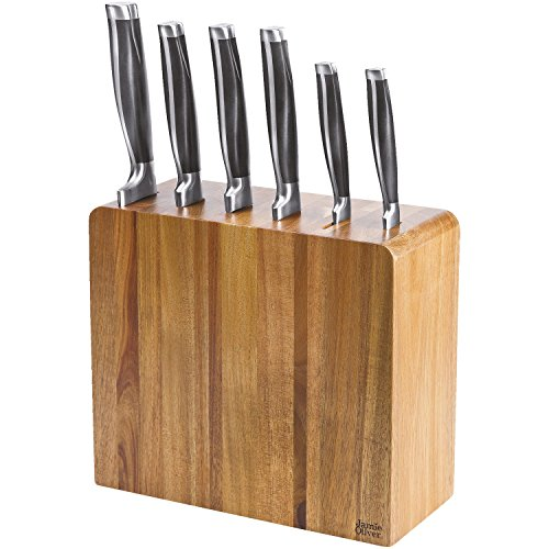 Jamie Oliver Smal messenblok van acaciahout met 6 messen, kunststof, hout/zwart/roestvrij staal