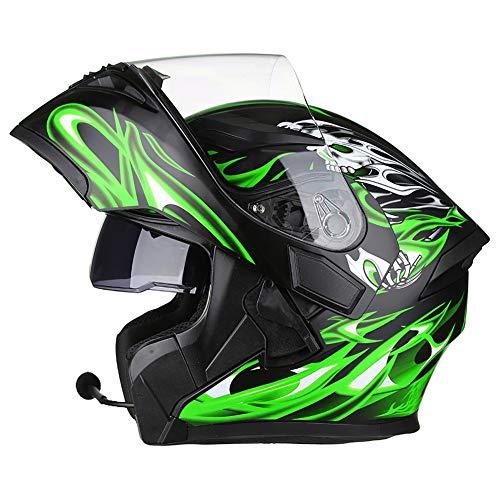 JIAND Bluetooth Helm Motorrad Full Face Klapphelm, Motorradhelm mit doppelter Linse (Schwarz Grün 54-64CM),L