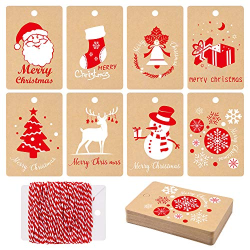 MIAHART 80 Pcs Christmas Gift Tags Kraft Paper Tags Wrapping Label with Hanging Rope, 8 Styles Christmas Kraft Present Gift Tags for DIY Arts and Crafts