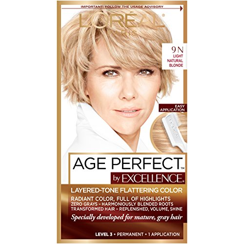L'Oreal Paris Age Perfect Permanent Hair Color, 9N Light Natural Blonde, 1 kit