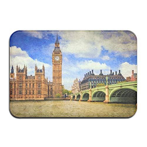 N/A Home Decoratieve Ingang Deur Mat, Engeland Londen Klok Toren Stad Grote Ben Binnen/Buiten Voor/Achterdeurmat Vloer Mat Plezier Magic Tapijt Anti-slip voor Thuis/Kantoor/Keuken/Slaapkamer Een Size