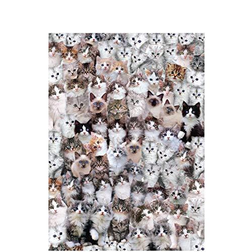 WAWDH Amor Animal Gato Rompecabezas 1000 Piezas Adultos Puzzle DIY Niños Clásico Juego Divertido Ensamblaje desafiante Intelectual Arte De La Pared Decoraciones Casuales-50cmx75cm