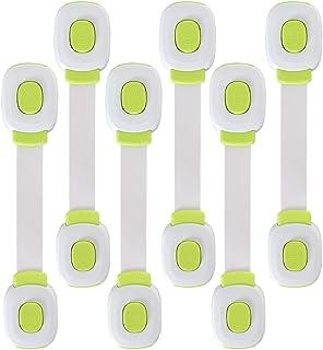 6 قطع من أقفال حزام الأمان للأطفال للثلاجة، والخزائن، والأدراج، وغسالة الأطباق، ومرحاض، لاصق 3 أمتار بدون ثقب