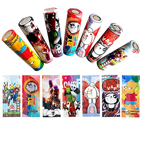 18650 Battery Wraps 7 Styles Replacement Cover for Protective Skin Decal Pre Cut Sleeves Heat Shrink PVC Tubing Make Battery Cool 20 PCS