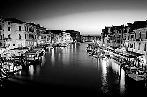 """Venice City Italy-City - Art Print On Canvas Rolled Wall Poster Print - Black and White 36""""x24"""" (90cmx60cm) - Unframed"""