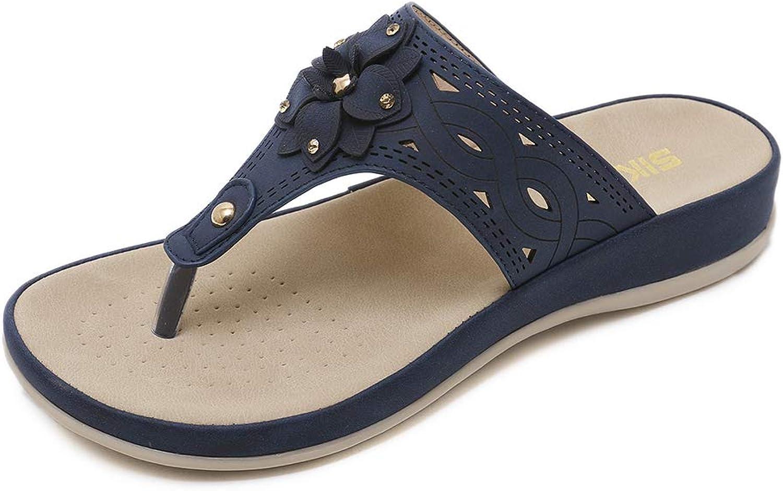 Baviue Floral Flat Leather Thong Sandals for Women Flip Flops