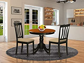 East West Furniture ANTI3 BLK C mid century dining table set 2 Fantastic wooden dining chairs A Lovely wood dining table Linen Fabric seat and Black Finish modern dining table (B00TV484SG) | Amazon price tracker / tracking, Amazon price history charts, Amazon price watches, Amazon price drop alerts