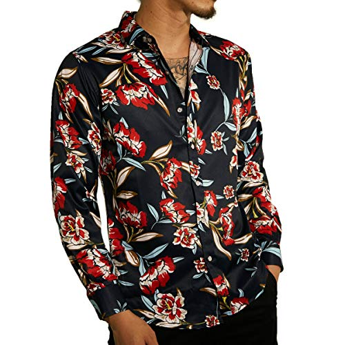 LOGEEYAR Men's Casual Button Down Shirts Printing Long Sleeve Regular-Fit Shirts