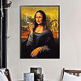 HUANGRONG Cuadros Dadaísmo la Pared del Arte Creativo Fumadores Mona Lisa Cartel de la Lona Impresiones de la Pintura clásica Estudio de decoración de Interior Pasillo Fotos