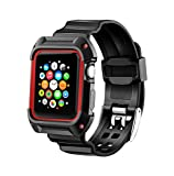 Compatible with Apple Watch Band with Case 38mm, MAIRUI Rugged Protective G Shock Replacement Wristband for Apple Watch Series 2/1, iWatch Nike+/Sport/Edition (Black&Red)