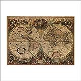 GVC Cartas náuticas Antiguas Vintage Cartel de Papel Kraft Pegatinas de Pared decoración de la habitación calcomanía del hogar mapas globales Arte Mural 5,0